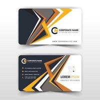 Stylish orange and black shapes business card template vector
