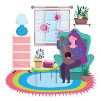 Young woman playing guitar indoors protected from Covid-19 vector