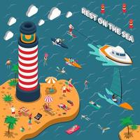 Water Sports Isometric People Composition vector