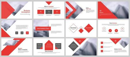 Business presentation layout templates in red and white