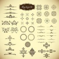 kit de elementos decorativos vintage vector