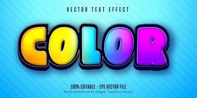 color brillante efecto de texto editable colorido vector