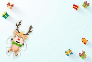 Christmas banner with Reindeer making a snow angel vector