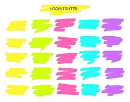 Colorful Highlight Brush Line Pen Stroke vector
