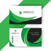 Green wavy business card vector