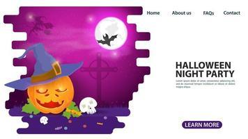 Halloween pumpkin in witch hat web page design