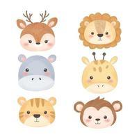 lindo conjunto de cabezas de animales de dibujos animados vector