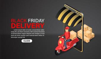 Black Friday Online Shopping Delivery by Scooter Design vector