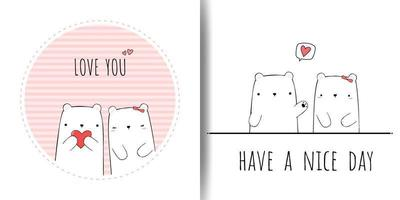 Cute Bear Couple Cartoon Doodle Cards