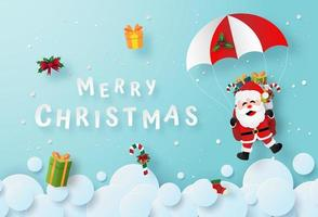 Santa Claus parachuting for Christmas celebration