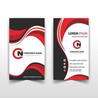 Vertical red wavy business card