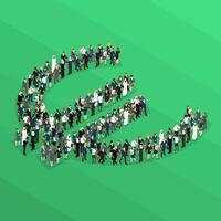 Crowd People Isometric Euro Sign