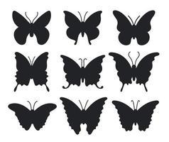conjunto de hermosas siluetas de mariposas vector