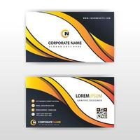 Orange gradient wave business card template