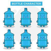 lindos personajes de botella con varias expresiones vector