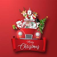 personajes navideños con letras vector