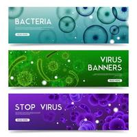 banners horizontales de virus realistas vector