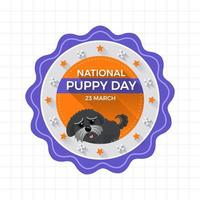 National puppy day badge with puppy