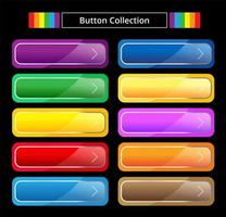 Glossy colorful button set vector