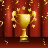Award celebration design with golden cup vector