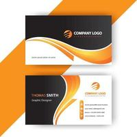Gradient yellow orange curve business card template vector