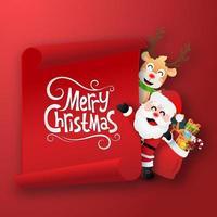 personajes navideños sosteniendo una bandera roja