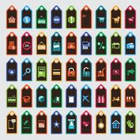Colorful Discount Tags Set with Icons vector