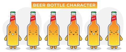 lindas botellas de cerveza con varias expresiones vector