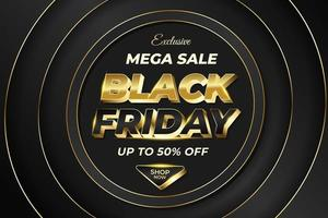 Black Friday Mega Sale Banner with Shiny Gold Luxury Style vector