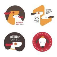 National puppy day emblem set vector