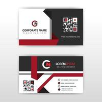 Abstract black and red geometric shapes business card template vector