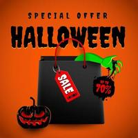 Halloween special offer poster with shopping bag vector