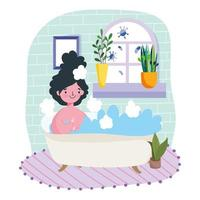 Young woman relaxing in tub indoors protect from Covid-19 vector