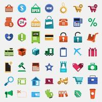 Colorful shopping icons set vector