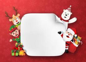 personajes navideños sosteniendo una pancarta en blanco vector