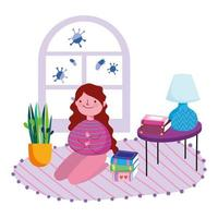 Girl kneeling on carpet indoors protected from Covid-19 vector