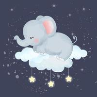 lindo bebé elefante durmiendo en una nube vector
