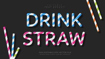 efecto de texto editable estilo paja de bebida vector