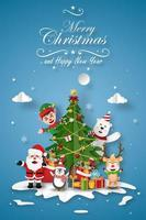 Christmas card with Santa and friends