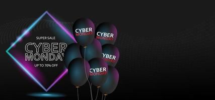 Cyber Monday sale banner with black balloons