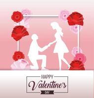 decoración de flores con pareja para el día de san valentín vector