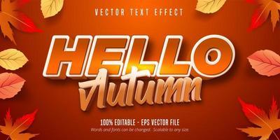 hola otoño efecto de texto editable vector