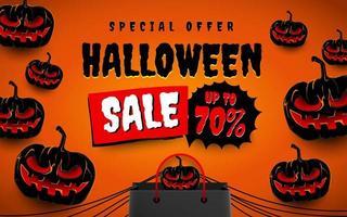 cartel de venta de halloween con calabazas y bolsa de compras vector