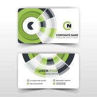 Green circular abstract business card design vector