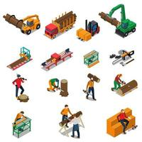 Sawmill Timber Mill Lumberjack Isometric Icons vector