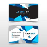 Blue polygonal business card template vector