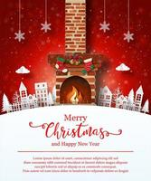 Christmas poster template with fire place