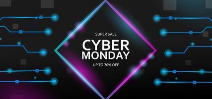 Banner de venta de Cyber Monday con luces de neón futuristas vector