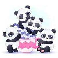 pandas bebé jugando juntos en tazas de té vector