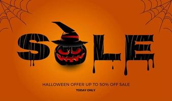 banner de venta de halloween vector